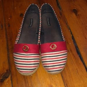 Nautica slip on shoes size 7 red white and blue